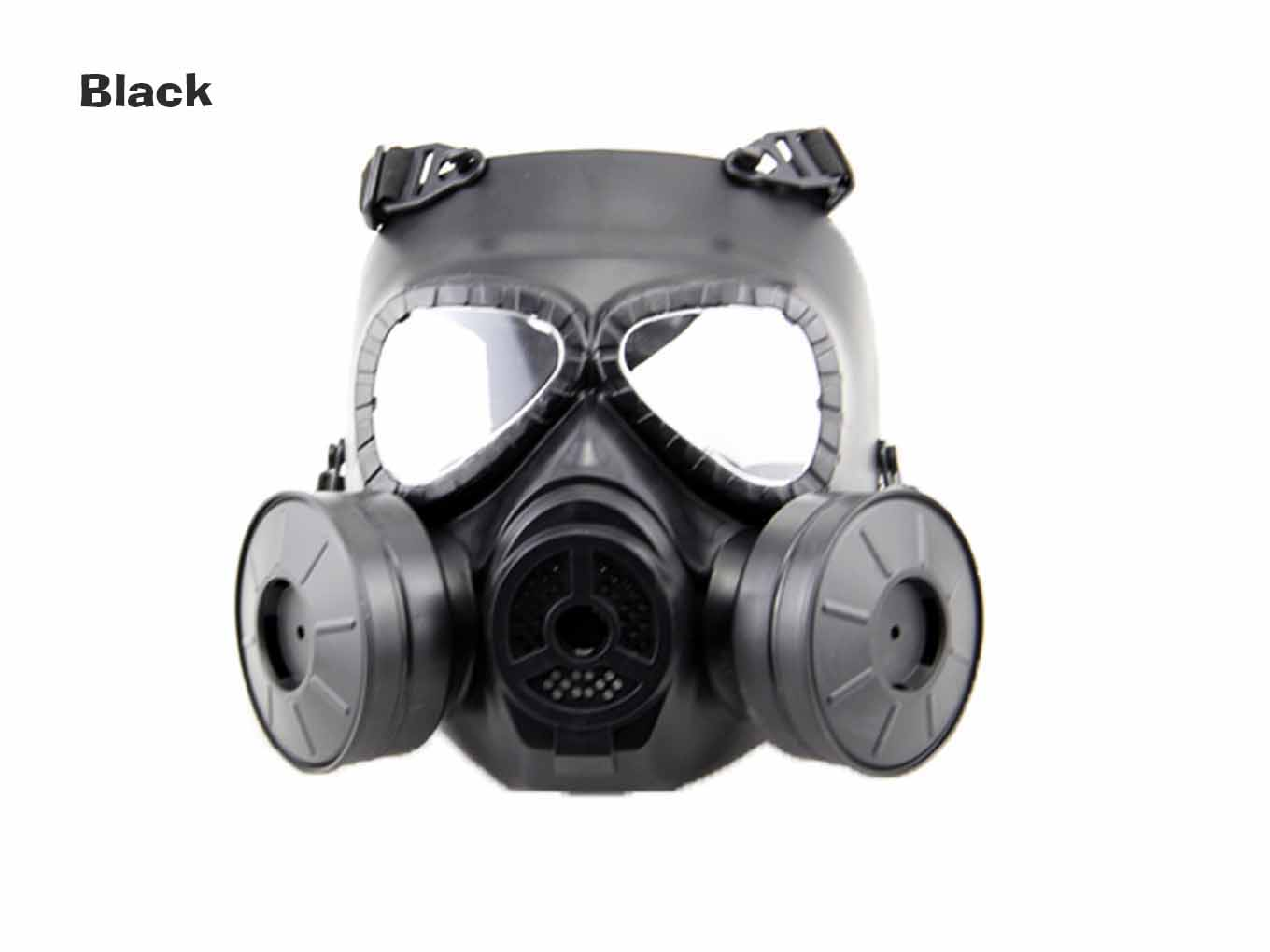 AOLS Gas Mask Two-pot With Adjustable Strap for Wargame&Airsoft