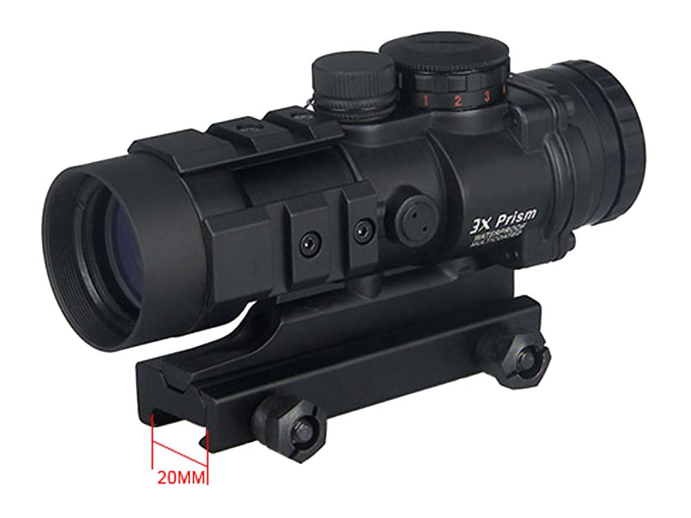 Canis Latrans AR-332 3x Prism Red Dot Sight Scope
