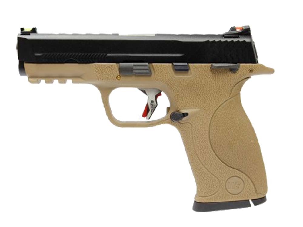 WE BB FORCE T4 B style pistol BK Slide/SV Barrel/TAN Frame