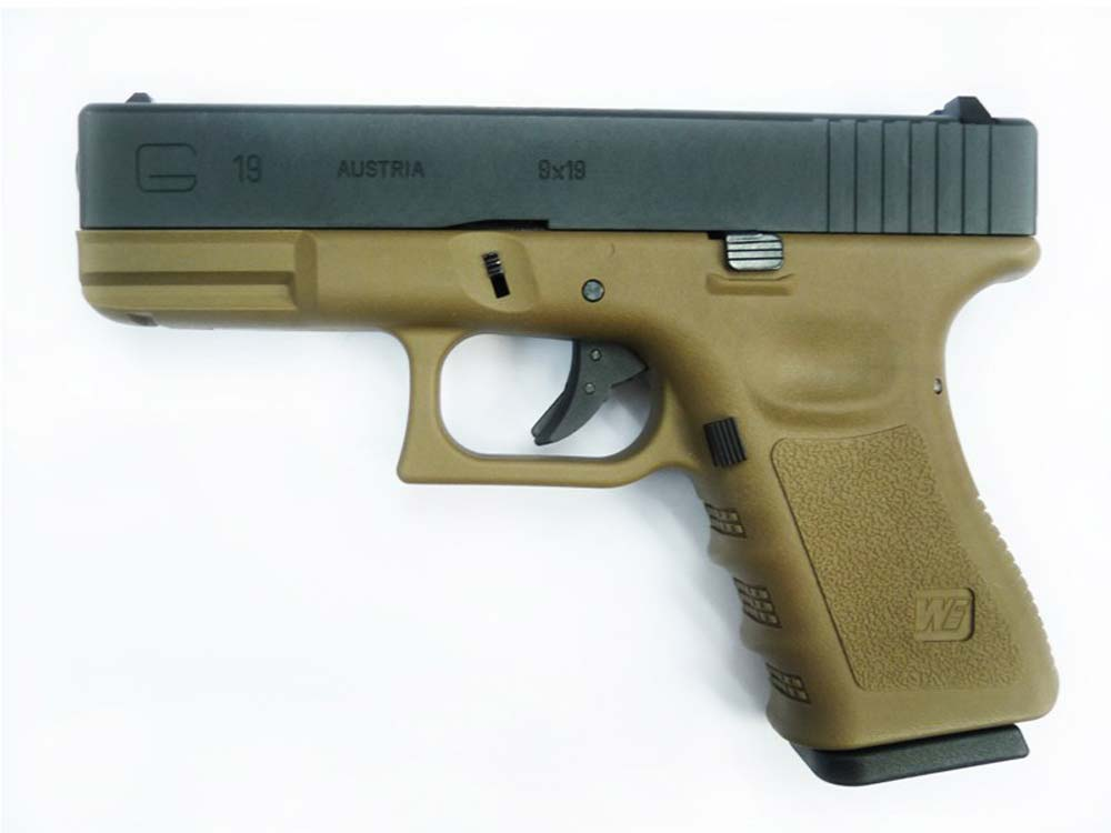 WE Model G19 TAN Metal Slide Gas Blow Back Airsoft Pistol