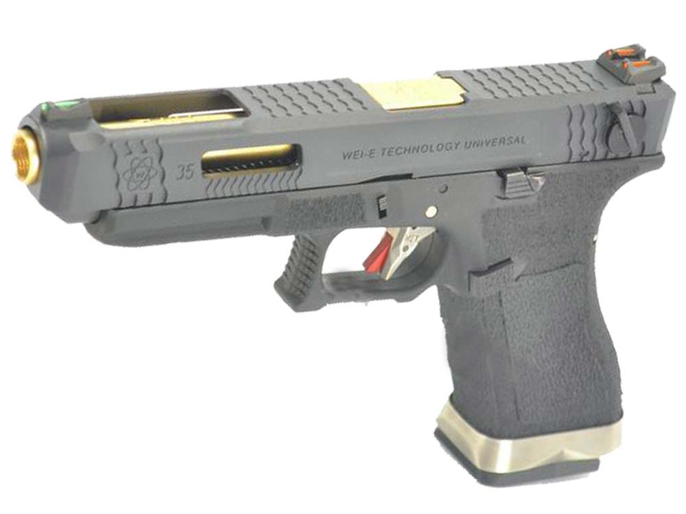 WE G35 GBB Pistol Black Slide, Black Frame, Glod Barrel