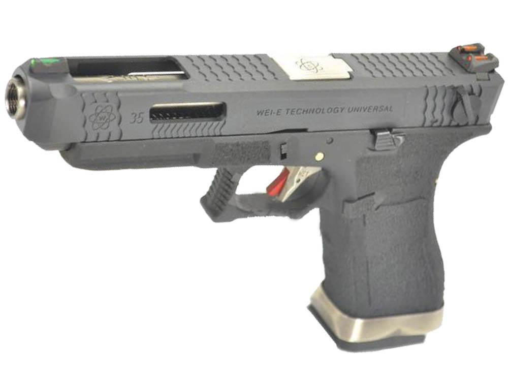 WE G35 GBB Pistol Black Slide, Black Frame, Sliver Barrel