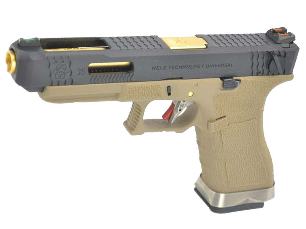 WE G35 GBB Pistol Black Slide, Tan Frame, Gold Barrel