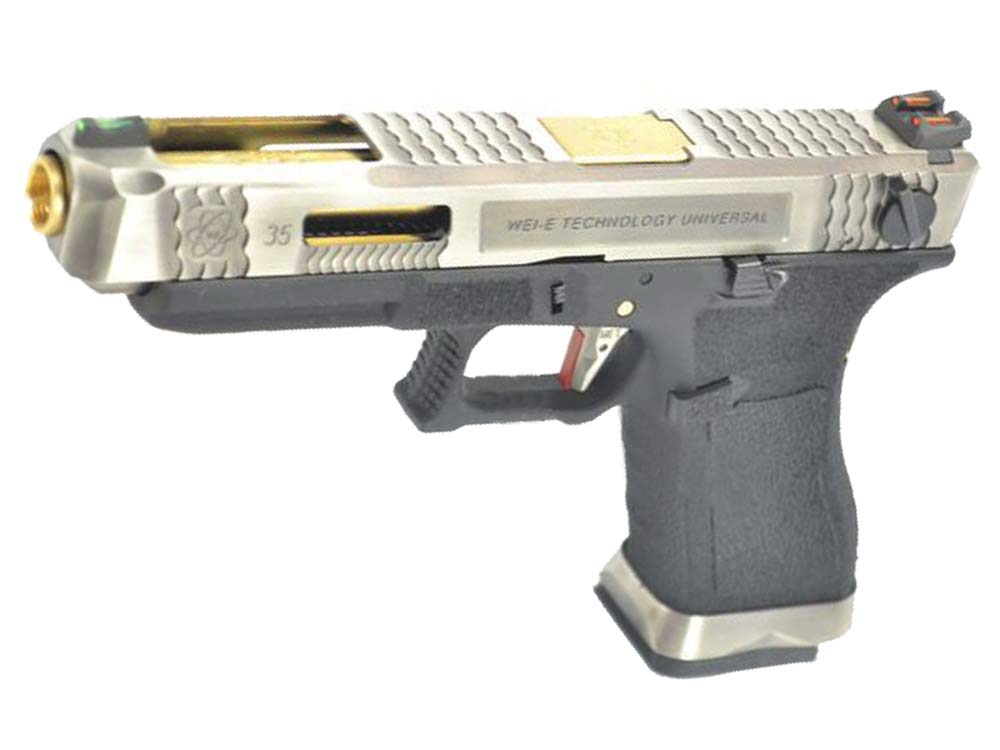 WE G35 GBB Pistol Sliver Slide, Black Frame, Gold Barrel