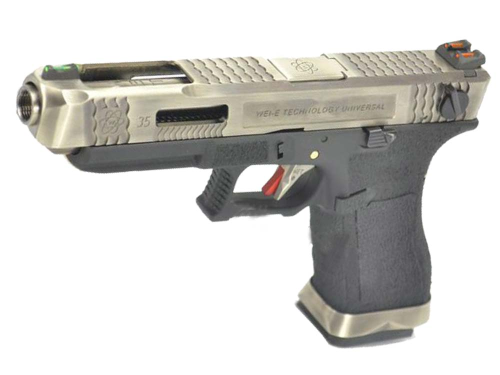 WE G35 GBB Pistol Sliver Slide, Black Frame, Sliver Barrel