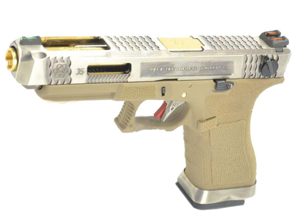 WE G35 GBB Pistol Sliver Slide, Tan Frame, Gold Barrel