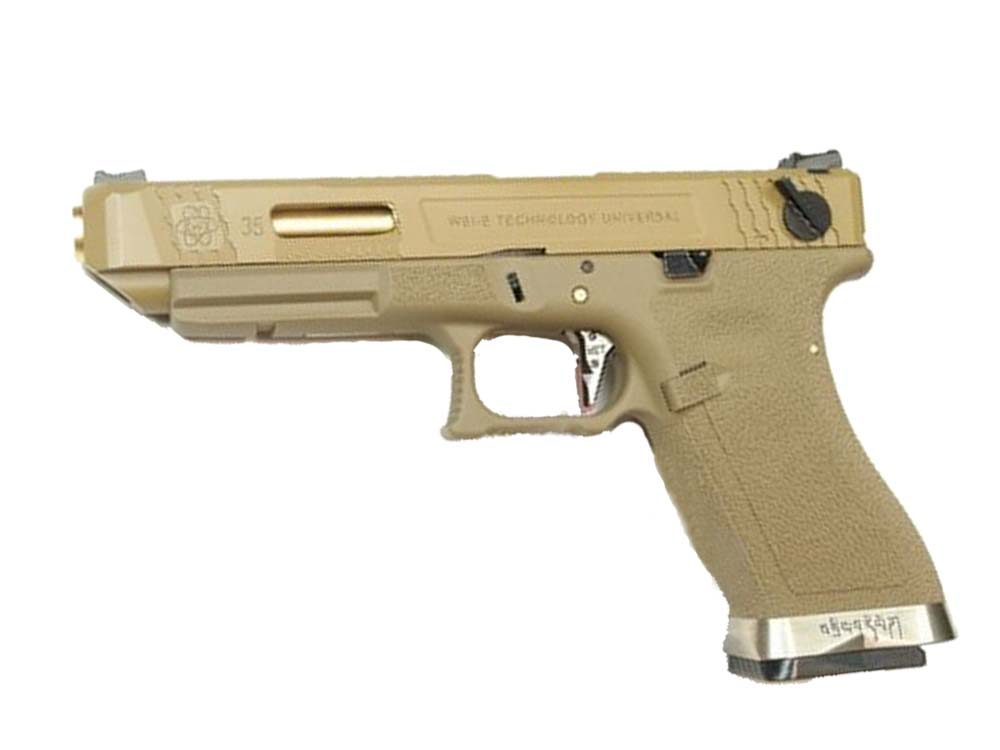 WE G35 GBB Pistol Tan Slide, Tan Frame, Sliver Barrel