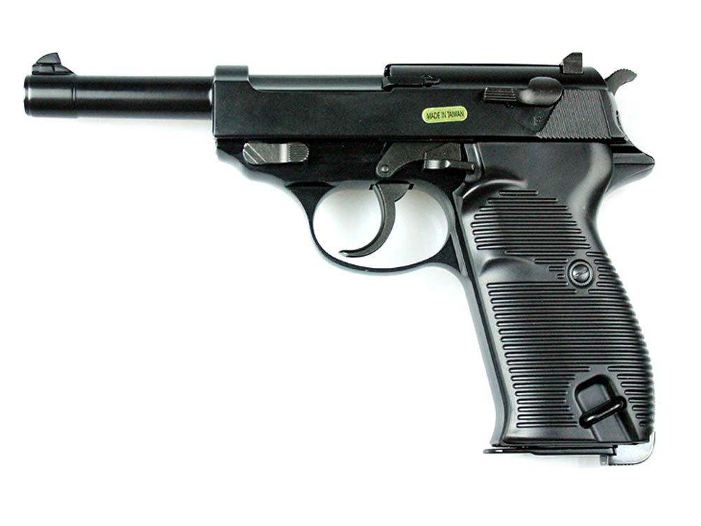 WE Long Outer Barrel P38 Gas Blow Back Airsoft Pistol Black
