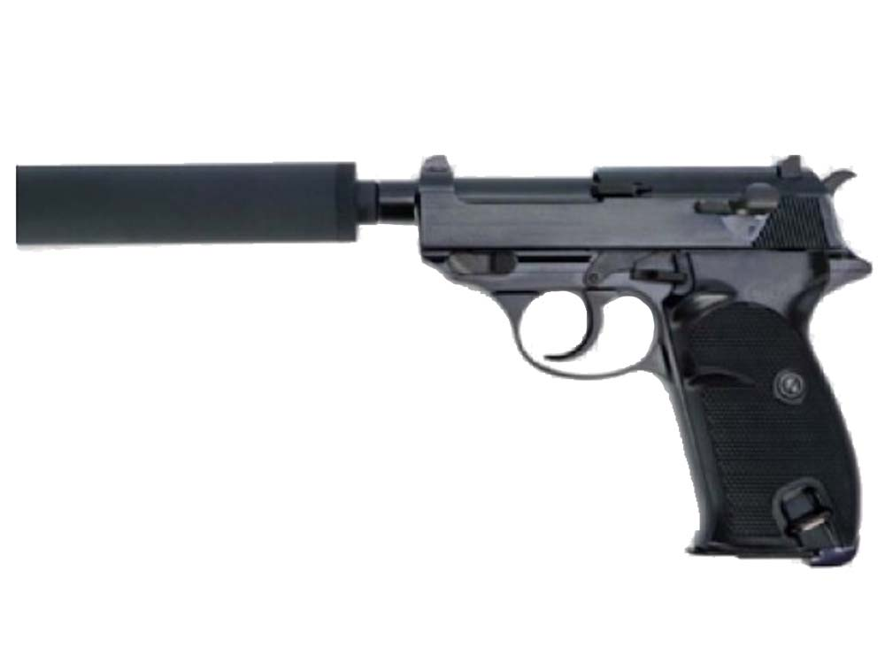 WE Short Outer Barrel P38 GBB Pistol with Metal Silencer Black