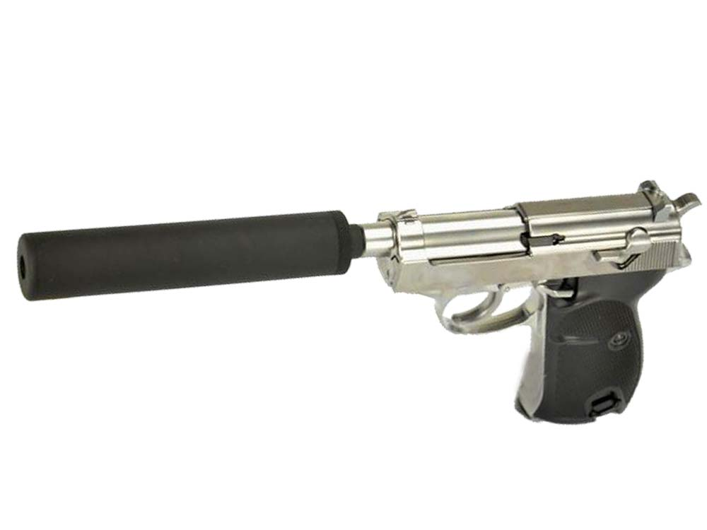 WE Short Outer Barrel P38 GBB Pistol with Metal Silencer Silver