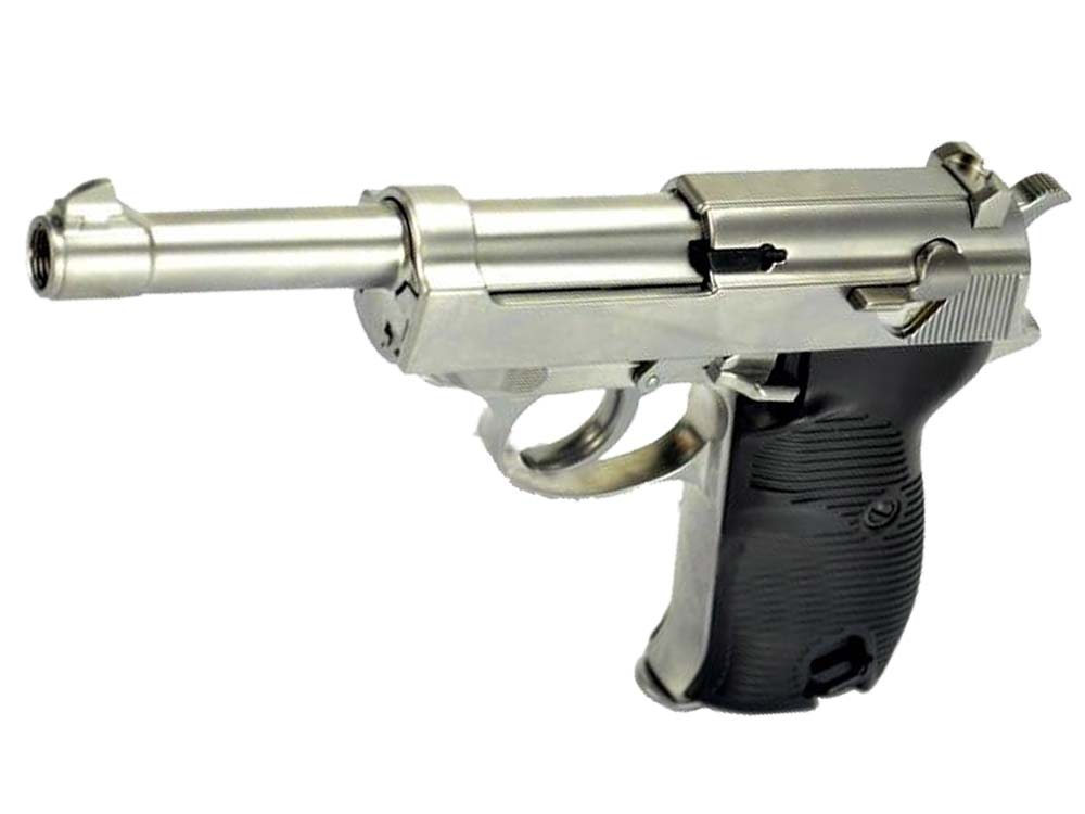 WE Long Outer Barrel P38 Gas Blow Back Airsoft Pistol Silver