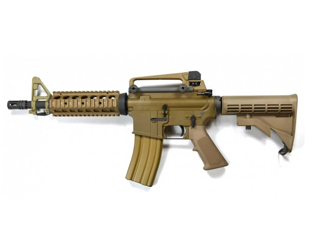 WE M4 CQB Gas TAN Open Bolt 6mm Gas Blow Back Airsoft Rifles