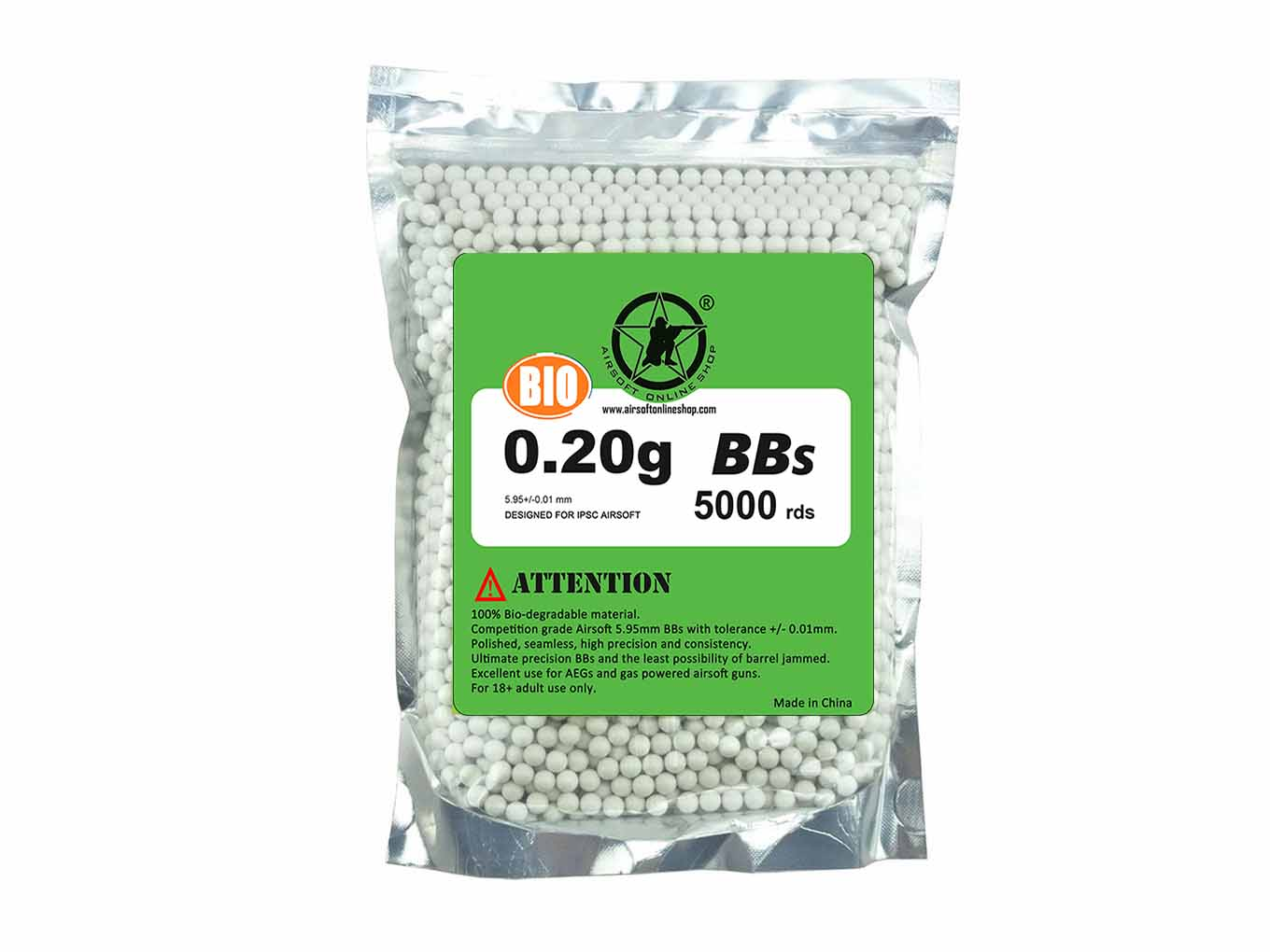 AOLS Airsoft Biodegradable BBs 6mm 0.20g 5000rds